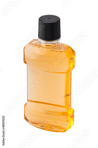 Bottle of mint orange mouthwash isolated on white backgr