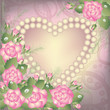 Valentine's Day background with heart and pearls