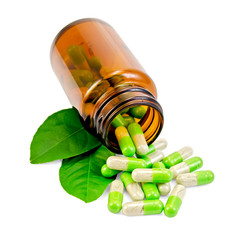 Capsules green in an open jar with leaf
