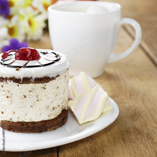 Hot coffee and tasty cake