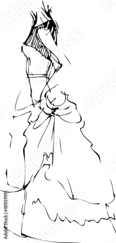 a sketch of beautiful slip of a girl is in a long dress