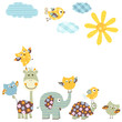 Fototapeten,elefant,giraffe,schildkröte,sonne