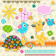 cute turtle and birds