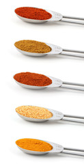 Spices measured in metal teaspoons