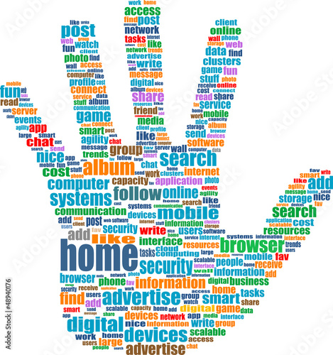 Like hand symbol with tag cloud of social word