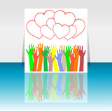 flyer or cover design with happy collaborating hands and hearts poster