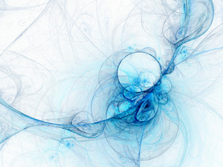Light blue swirly curve, digital fractal art design