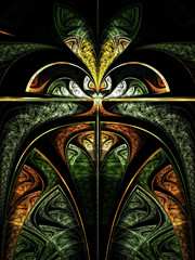 Colorful flower or butterfly, digital fractal art design