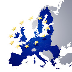 Vector Illustration of a map of European union