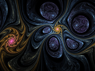 Gravity connecting stars, digital fractal art design