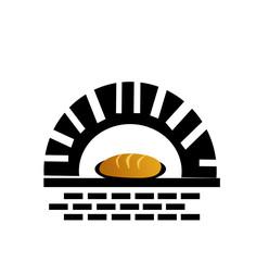 Fresh bread in oven