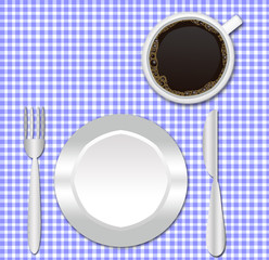 checkered fabric border, coffee cup, plate,fork and knife