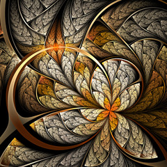 Golder flower or butterfly, digital fractal art design