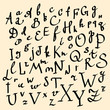 Vector alphabet. Hand drawn letters.