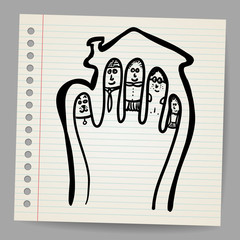 Doodle vector Fingers Family illustration in the house