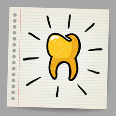 Gold tooth doodle vector illustration