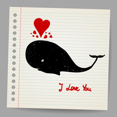 Cute doodle in love whale with hearts. Vector illustration