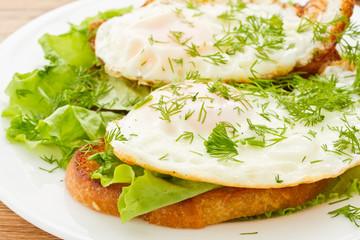 toast with a fried egg