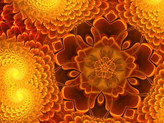 Fractal flower in fiery colours, digital art design