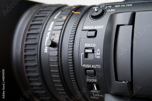 Close up of professional video camera lens