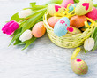 Easter eggs lying in basket
