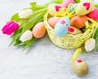 Easter eggs lying in basket