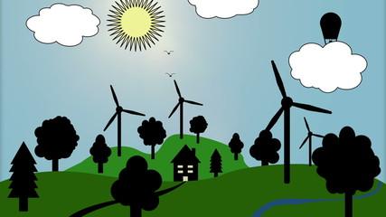 Ökologie Windräder Landschaft (Cartoon)
