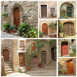 collage with rustic italian doors
