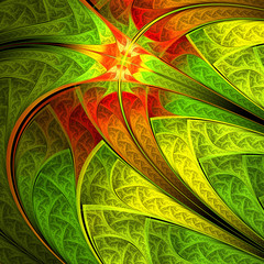 Colorful leafy pattern, digital fractal art