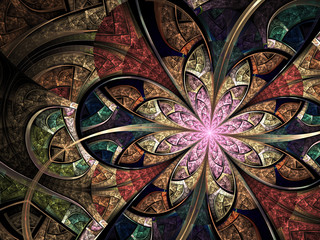 Colorful floral stained glass, digital fractal art illustration