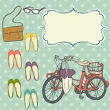 Cute girly summer set with bicycle, shoes, bag and eyeglasses