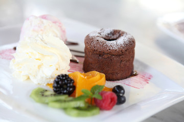 Chocolate Lava Cake with ice cream and fruit
