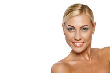 Closeup of beautiful blond female model