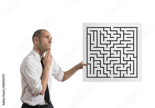 Businessman with maze