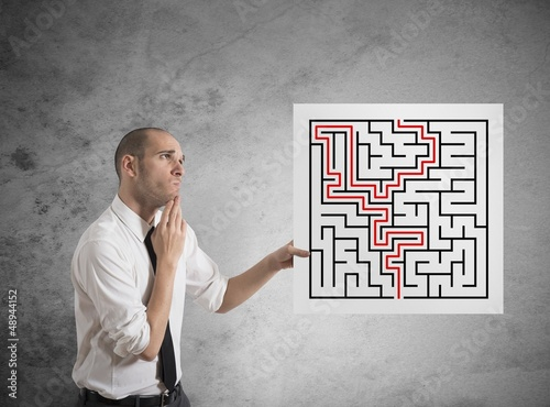 Businessman with solutions of maze