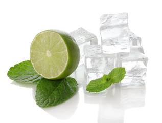 Ice with mint and lime isolated on white