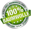 """Button Banner """"100% Baumwolle"""" grün/silber"""