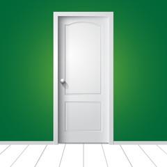 Vector white door on green wall