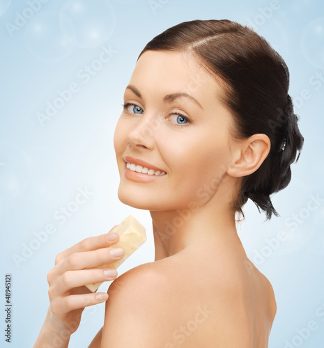 woman with soap