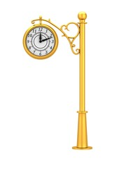 Gold street clock in the old style