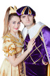 Guy and girl dressup as Prince and Princess isolated on a white