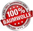 "Button Banner ""100% Baumwolle"" rot/silber"