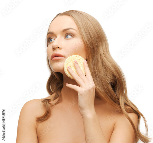 woman with sponge