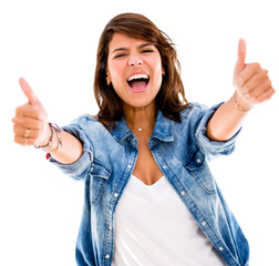 Excited woman with thumbs up
