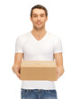 handsome man with big box