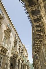 europe, italy, sicily, siracusa, baroque balconies