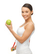woman with measuring tape and apple