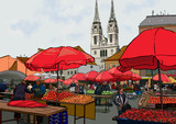 Outdoor farmers market in central europe.