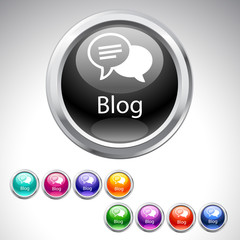 Blog button with speech bubble icon - 9 color set.