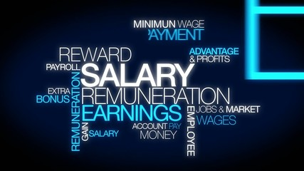 Salary remuneration earning word tag cloud animation
